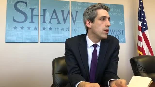 Democratic Gov. candidate Daniel Biss visits the Northwest Herald on March 9, ahead of the March 20 primary