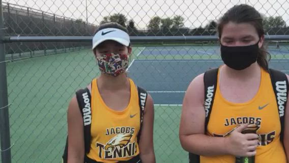 The Golden Eagles' No. 2 doubles held off C-G's Mary Greenwald and Chloe Sorensen 6-4, 6-7 (7-9), 6-4 in a match that gave Jacobs a 4-3 team win.