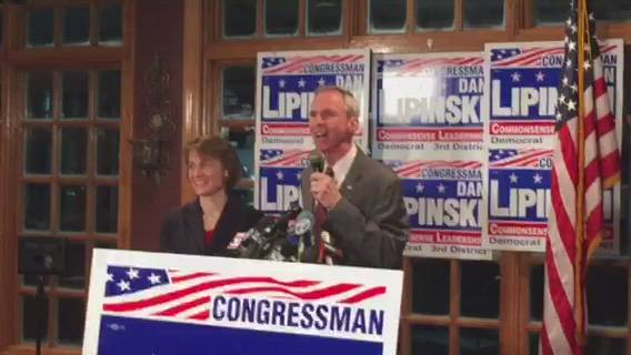 U.S. Rep Dan Lipinski shows cautious optimism at a campaign party on the evening of March 20 for a race which he ultimately won, with opponent Marie Newman conceding early March 21.