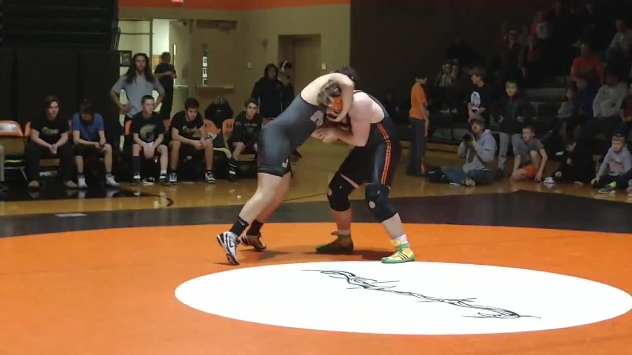 Beaudoin gets close to a takedown. He'd get a pin 45 seconds later