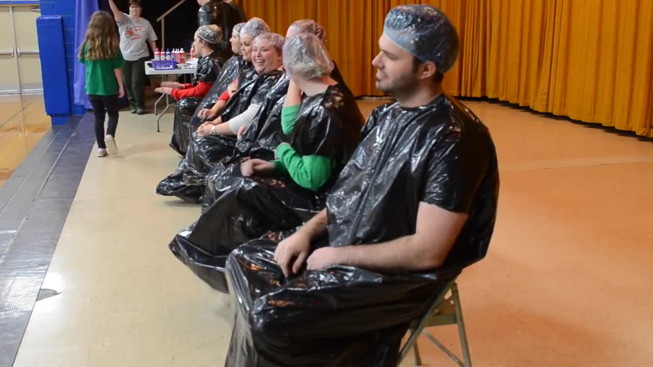 "Merrill Elementary School students raised money for St Jude's, and the kids who raised the most money got to ""pie"" their teachers and Principal Brody Rude in the face."