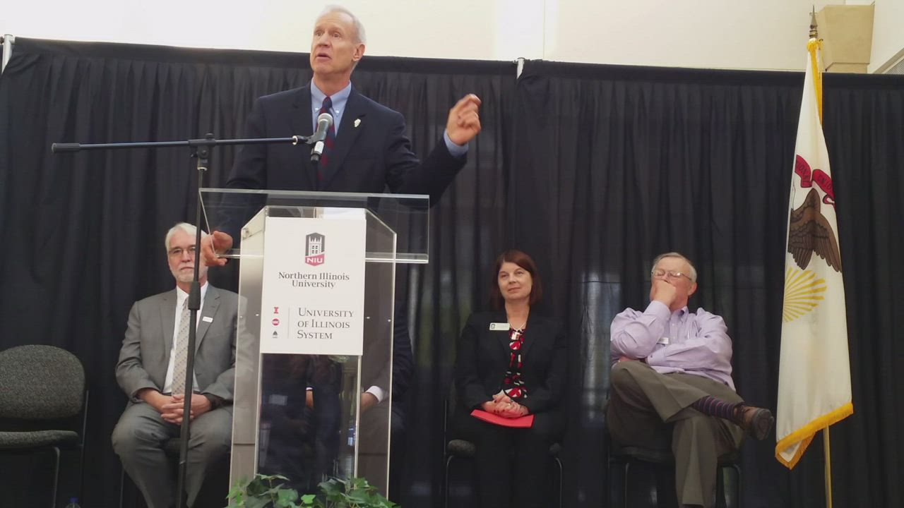 Gov. Bruce Rauner speaks Tuesday about NIU joining the Illinois Innovation Network.