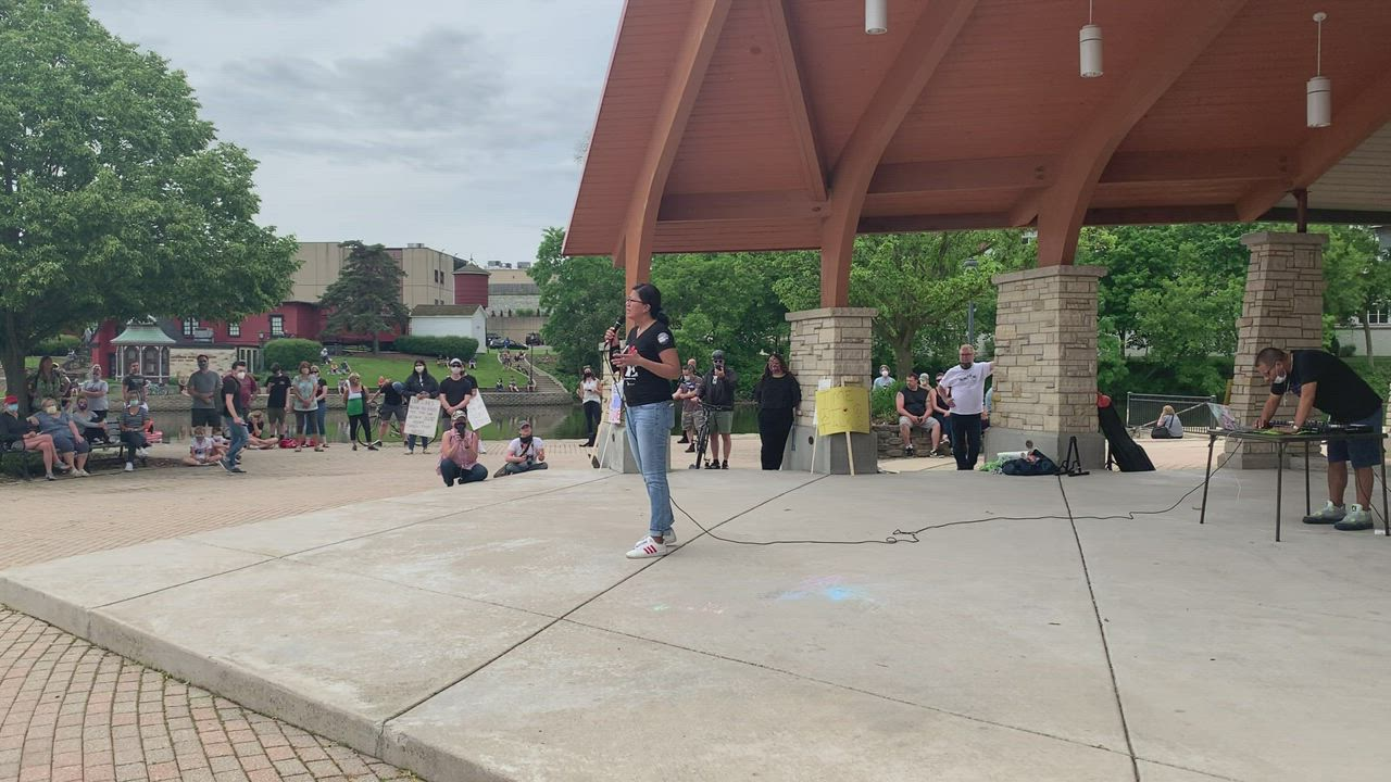 Illinois Rep. Karina Villa of the 49th District (Batavia) gives a speech at the Batavia Black Lives Matter protest