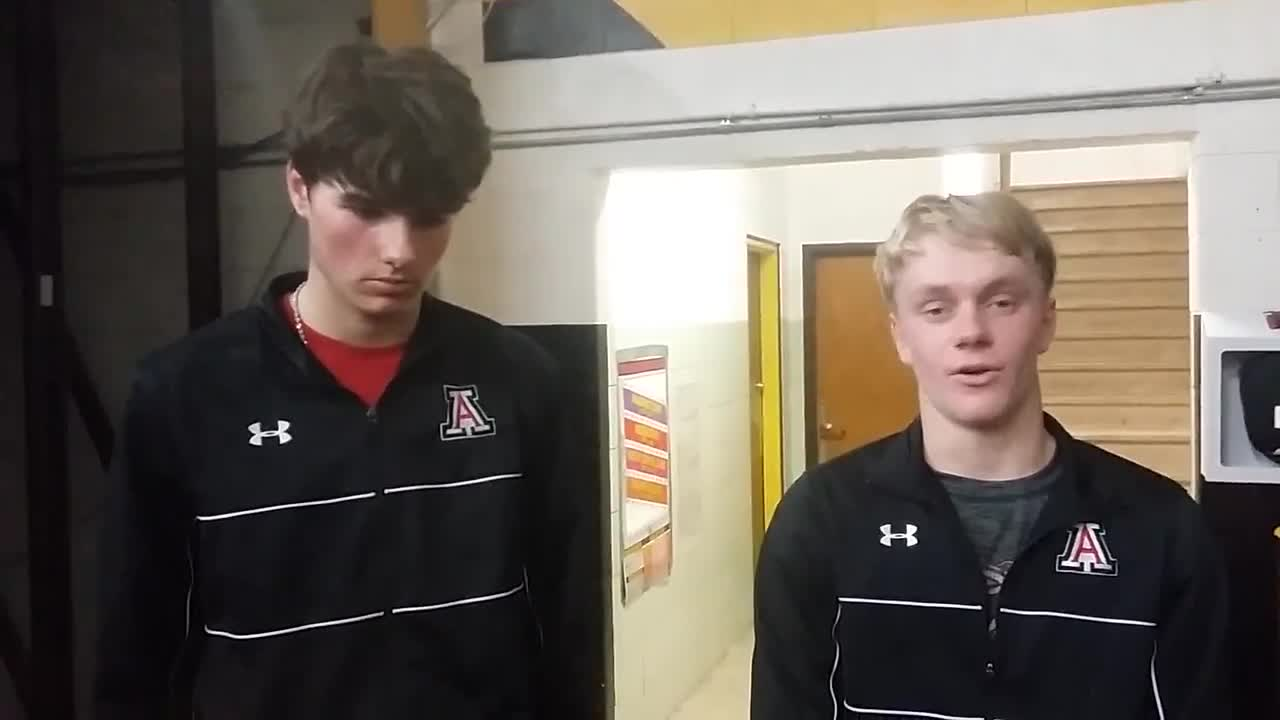 Amboy's Justin Hart and Hunter Zimmerly talk about the Clippers' 62-54 win over AFC, 1/6/18