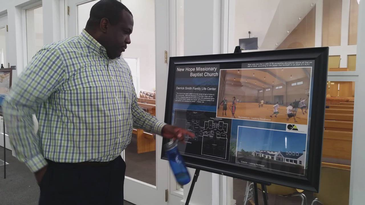 Joe Mitchell, pastor at New Hope Missionary Baptist Church, talks about a plan for a $1 million expansion of the church.