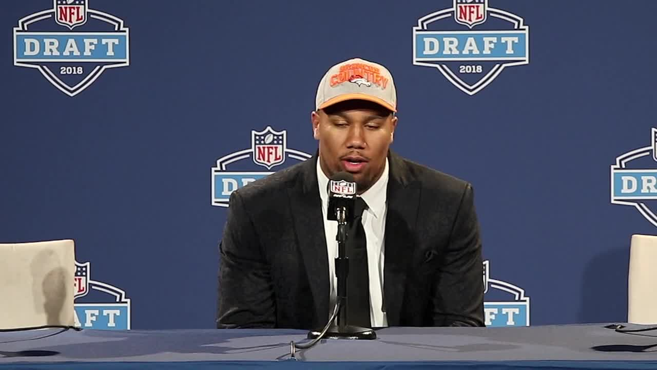 On Thursday, April 26, with the No. 5 pick overall in the 2018 NFL Draft, the Denver Broncos selected NC State defensive end Sam Bradley Chubb. Regarded by many scouts as the consensus best defensive player in this year's class, Chubb offers the total package with size, athleticism, instincts and violent hands. Bradley Chubb spoke with the media following his selection. For more draft coverage, keep it a profootballweekly.com.
