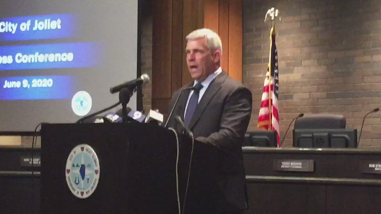 At a news conference Tuesday, Joliet Mayor Bob O'Dekirk discusses his actions where he got into a scuffle with a protester.