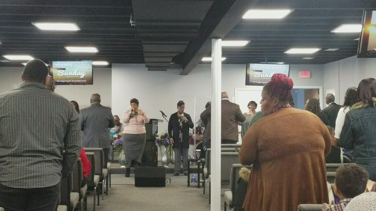 A glimpse at the way New Covenant Worship Center in Joliet worships on Sunday morni