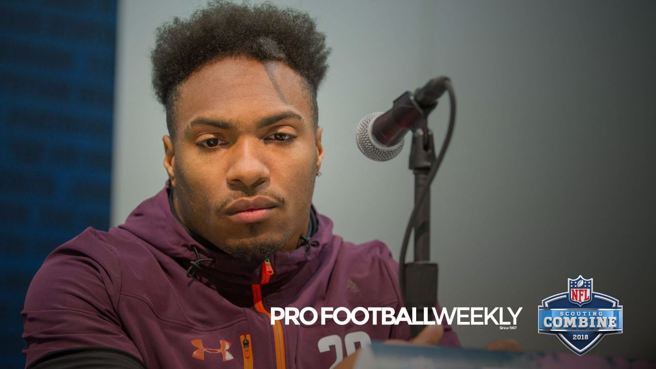 Texas A&M running back Trayveon Williams meets with the media at the 2019 NFL Scouting Combine on Thursday, February 28, 2019. Williams discusses his time at Texas A&M along with who else is standing out amongst the running back class.