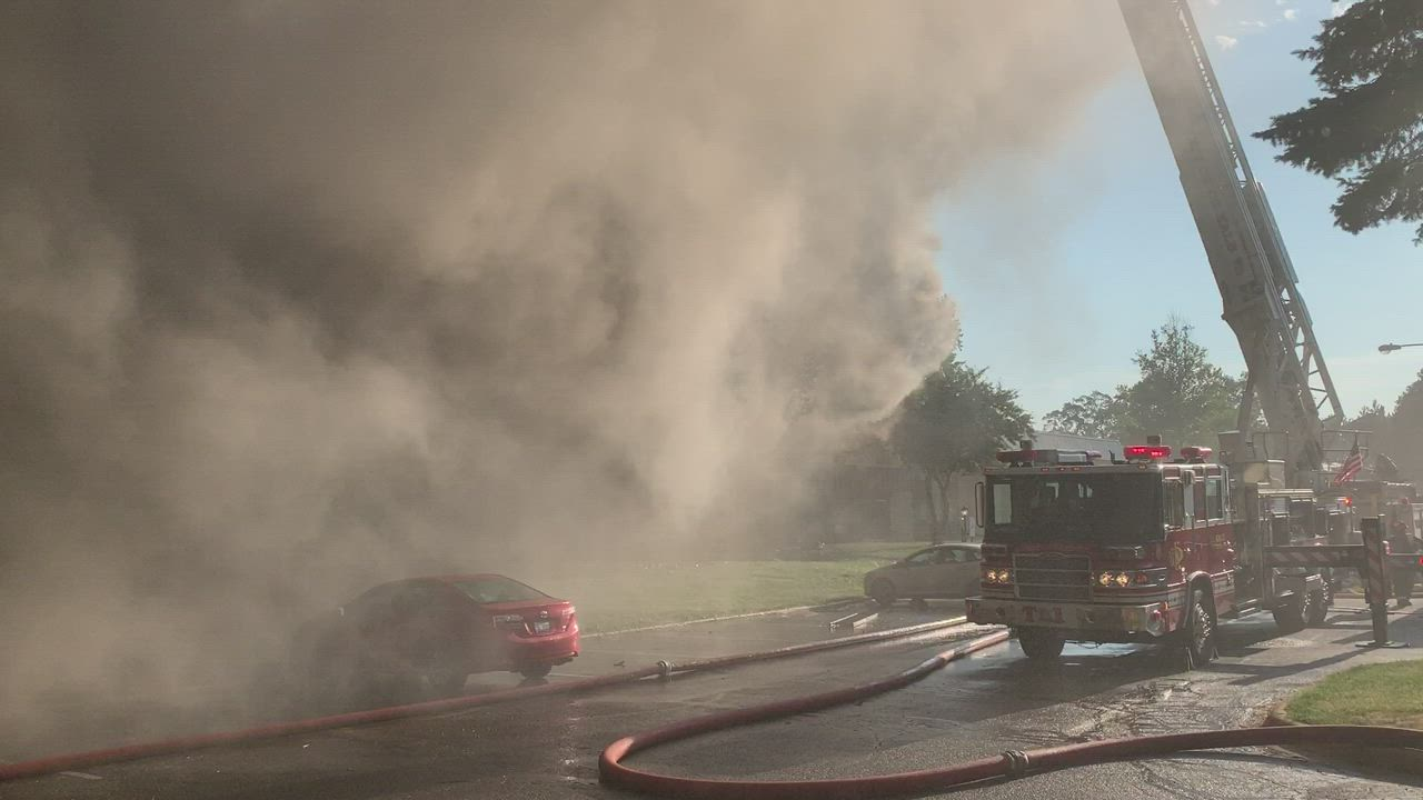 Firefighters battle blaze at St. Albans Green apartment complex on Saturday, July 27
