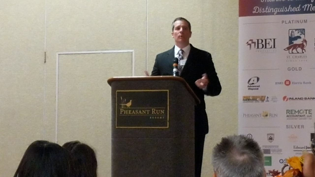Incoming St. Charles Chamber Board Chairman Ryan Anderson talks about the chamber's goals for 2020 at its annual membership meeting and breakfast on Nov. 7 at Pheasant Run Resort.