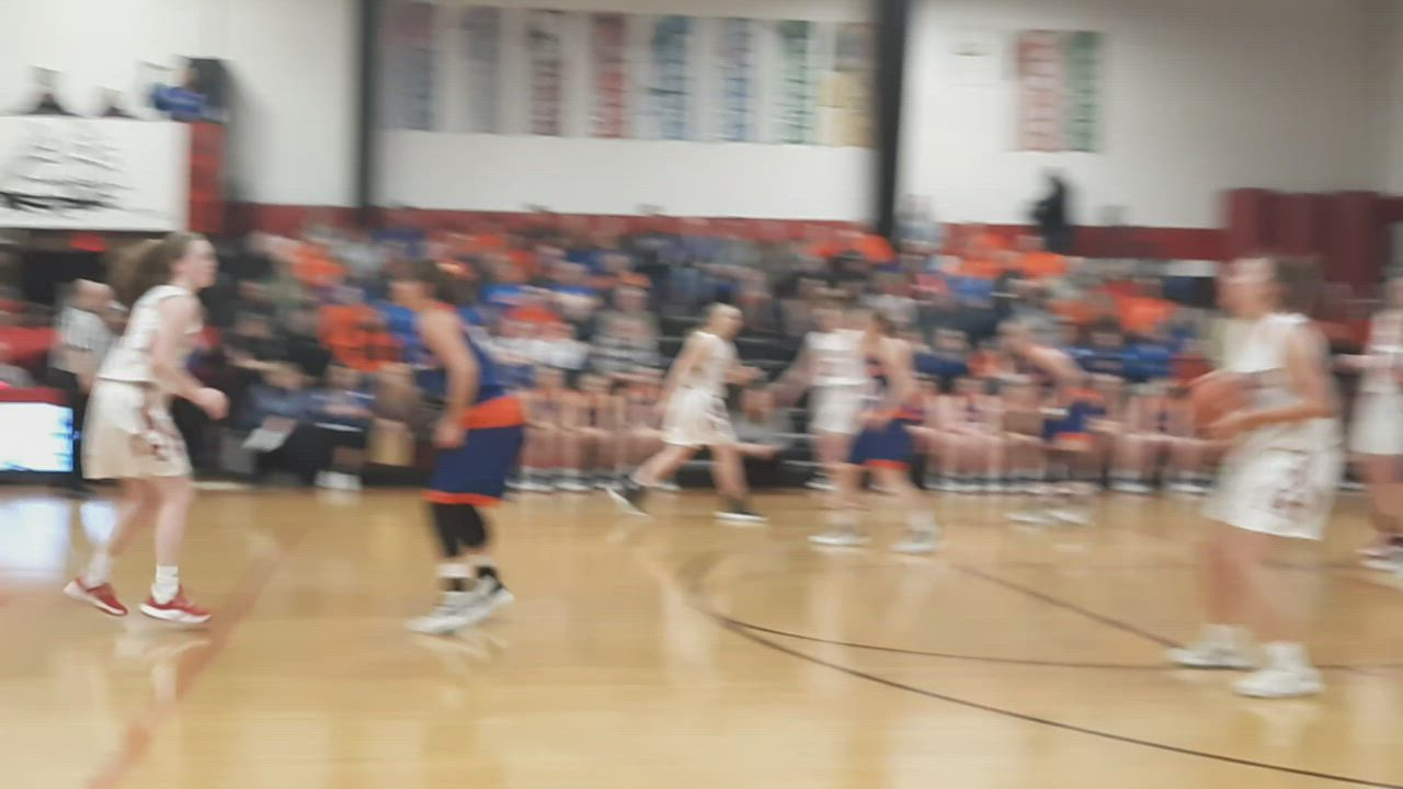 Amboy's Mallory Powers put the Clippers up by double-digits vs. Eastland in the first quarter of their NUIC South game at Amboy High School. The Clippers, ranked No. 3 in Class 1A, never let the No. 2-ranked Cougars lead after that in a 60-57 win.