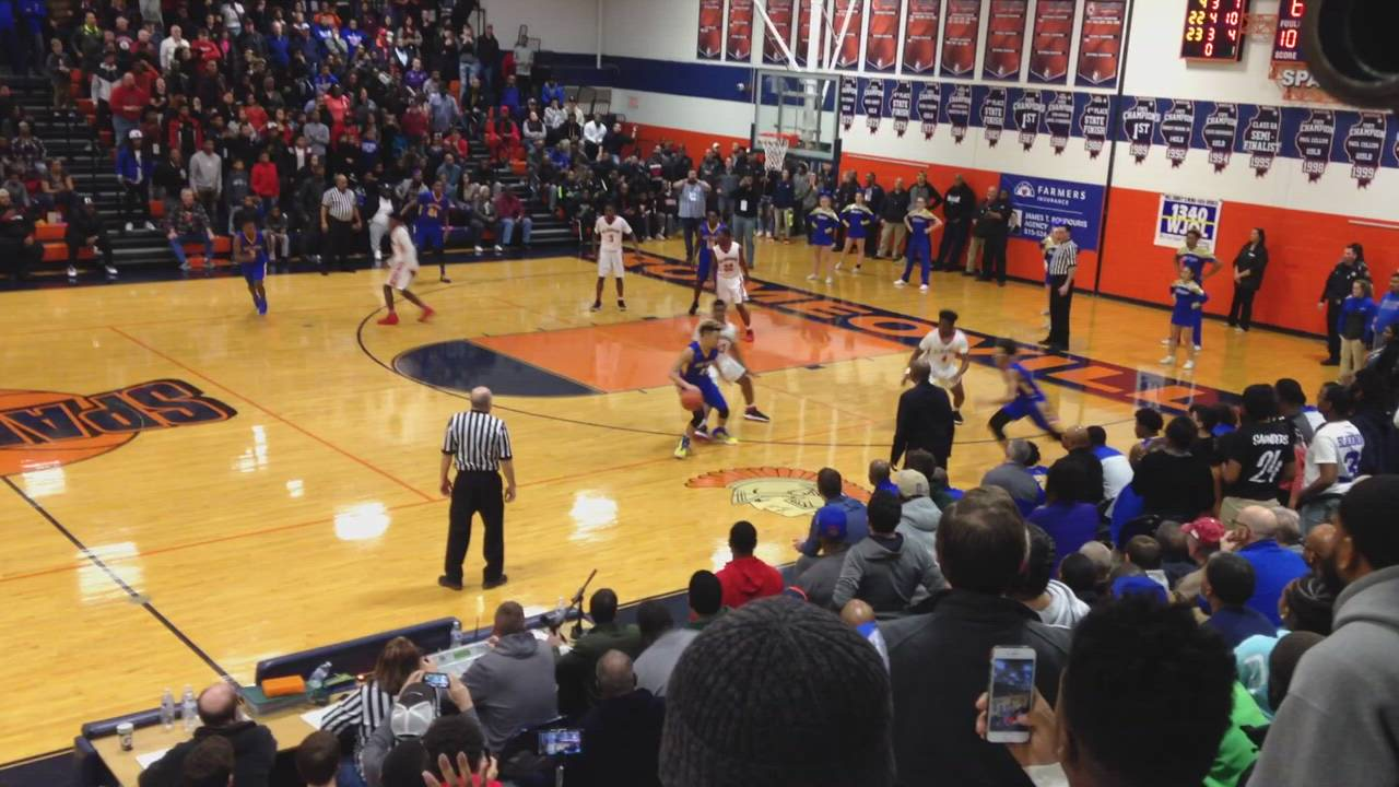 Cameron Blacmon's 3-pointer mgives Steelmen 68-66 lead in closing seconds of regulation.