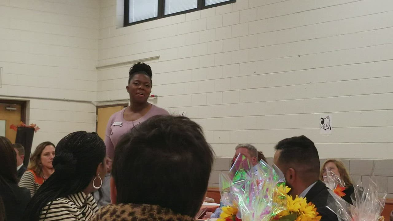 Taryn Fears, Greater Joliet Area YMCA, describes what she saw at the Thompson Center hen she served as Principal for a Day at Joliet Public Schools District 86.