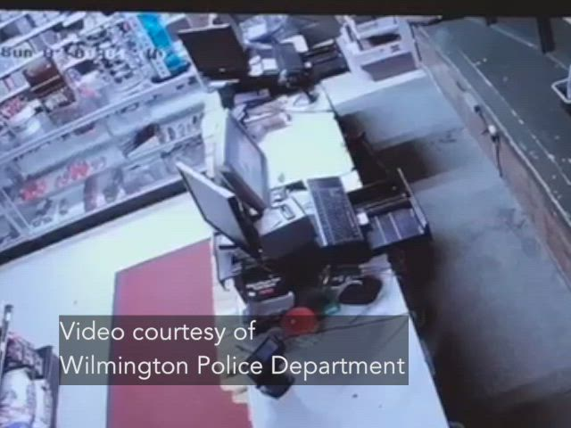 Wilmington police provided surveillance footage in which a vehicle can be seen driving through a bait shop.