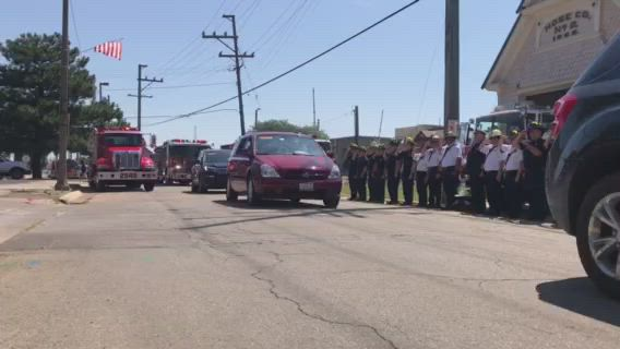 The funeral procession of Sandwich Fire Chief Jason Pruski made its way through Sandwich Saturday morning.