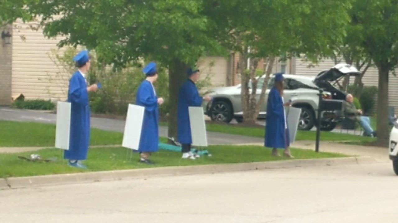 Parents of St. Charles North seniors who live in the Thornwood subdivision in South Elgin participated in a graduation parade on May 21.