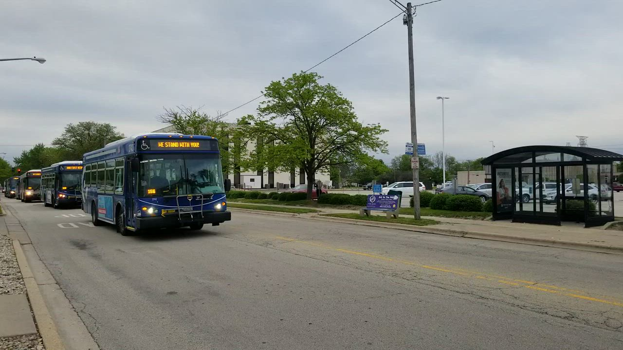 On Wednesday night, a small fleet of Pace buses drove past AMITA Health Saint Joseph Medical Center in Joliet to honor essential hospital workers.
