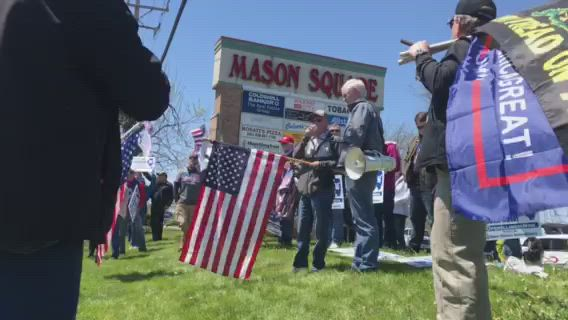 Republican U.S. Senate candidate and Lake County resident Mark Curran spoke at a rally to support safely reopening Illinois businesses at Mason Square in Oswego Saturday.