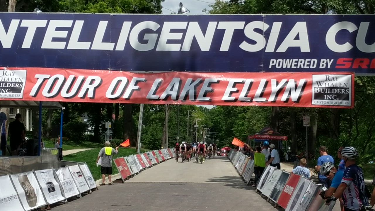 Cyclists raced around Lake Ellyn in Glen Ellyn on July 28 as part of the Ray Whalen Builders Tour of Lake Ellyn.