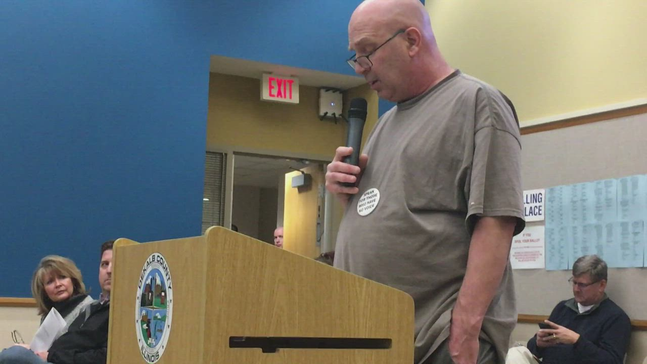Drew Alexander of Sycamore, who is a leading member of Bert's Brigade, gives public comment about a Feb. 8 animal abuse and neglect case against Barn on Baseline during a DeKalb County Board meeting on Wednesday. The comments come after the Genoa animal shelter's operating board announced the shelter's director Roberta Shoaf is retiring after recent charges of animal neglect issued by the DeKalb County Sheriff's Office.
