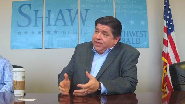 Democratic Gov. candidate JB Pritzker visits the Northwest Herald on March 9, ahead of the March 20 primary