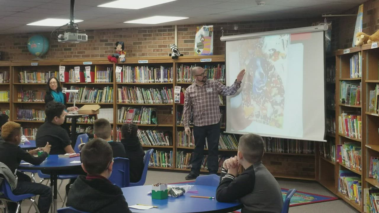 Joliet artist Topher Gleason introduces fourth grade students at Thomas Jefferson Elementary School to this medium for artwork.
