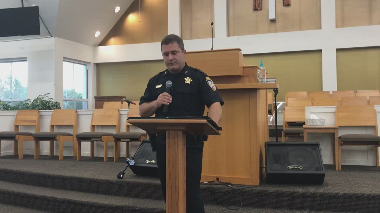 Interim DeKalb Police Chief John Petragallo speaks on the Elonte McDowell arrest and the pending Illinois State Police investigation Wednesday, Sept. 4 at a community meeting at New Hope Missionary Baptist Church in DeKalb.