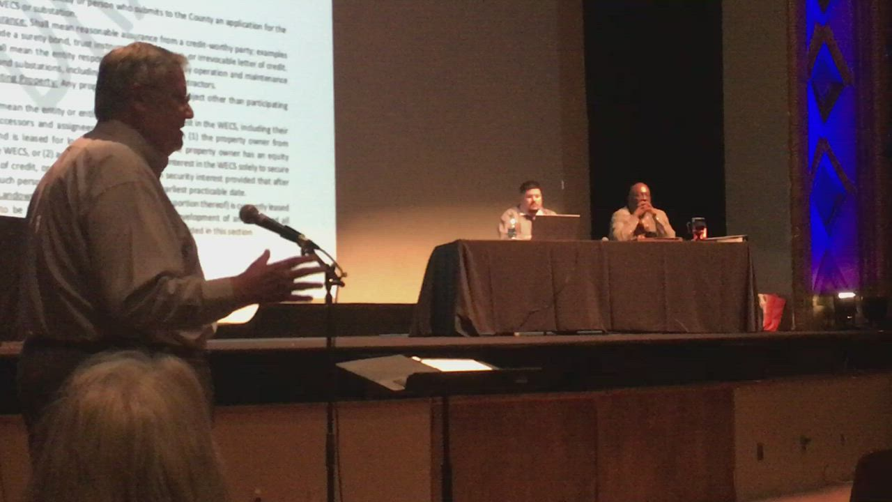 DeKalb Mayor Jerry Smith and Sycamore Mayor Curt Lang share their thoughts on the proposed wind ordinance during one of the two hearings Monday at the Egyptian Theatre.