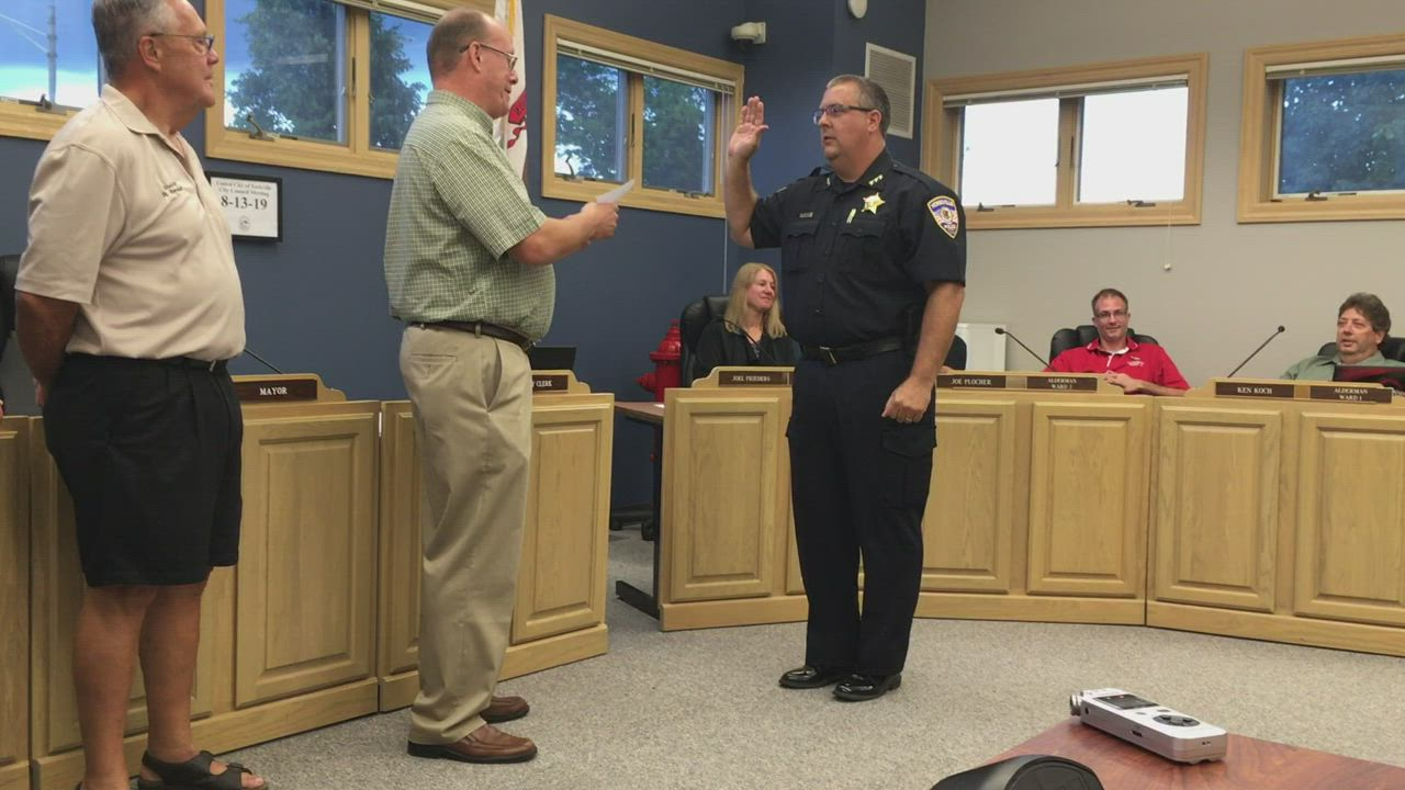 Yorkville native Jim Jensen is sworn in as police chief during the City Council meeting on Tuesday, Aug. 13 at City Hall, 800 Game Farm Road in Yorkville.