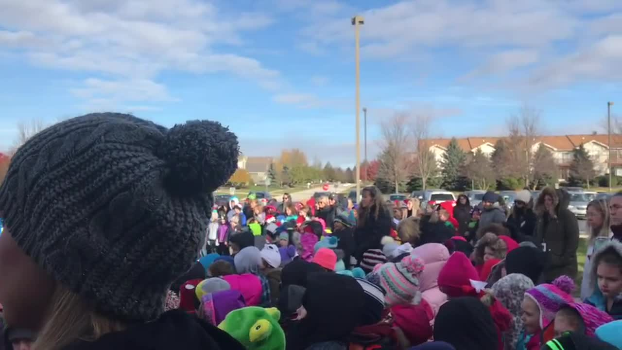 Students at Kaneland John Stewart Elementary School in Elburn welcomed local veterans for a Veterans Day presentation and flag raising ceremony.