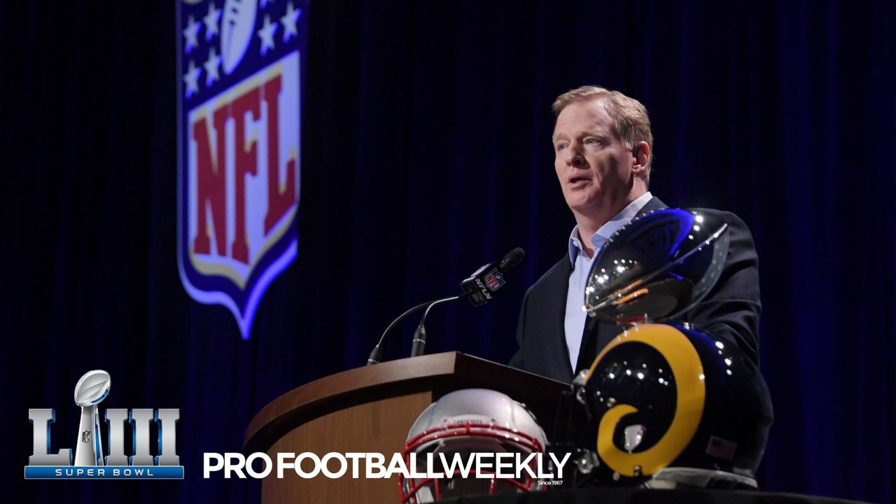 Hub Arkush checks in from Atlanta, GA, site of Super Bowl LIII on the latest news scoops and rumors out of the NFL. Most of the news revolves around Roger Goodell's State of the NFL address, along with some news out of Pittsburgh.
