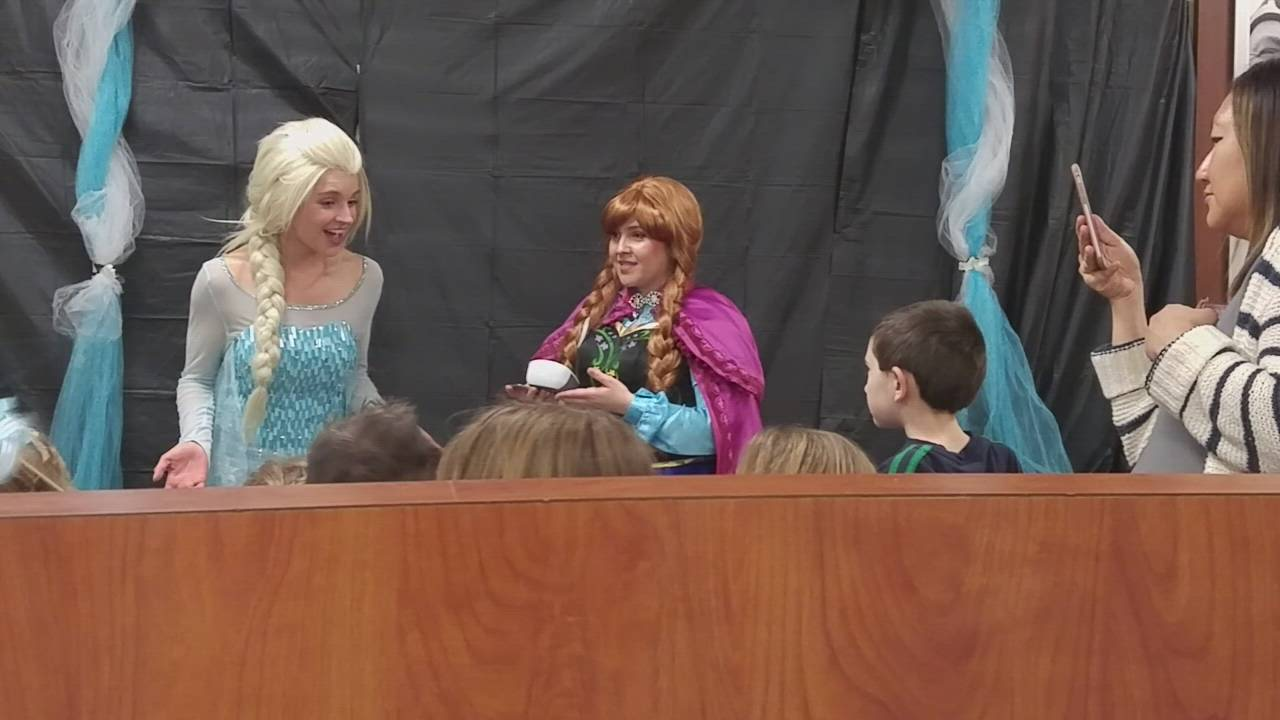 "Anna and Elsa from the movie ""Frozen"" on Feb. 15 visited the Chick-fil-A restaurant in Wheaton."