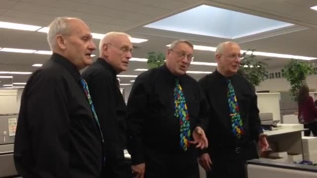 The Rock River Valley Barbershop Chorus made their way around the Sauk Valley on Valentines Day serenading loved ones with their songs.