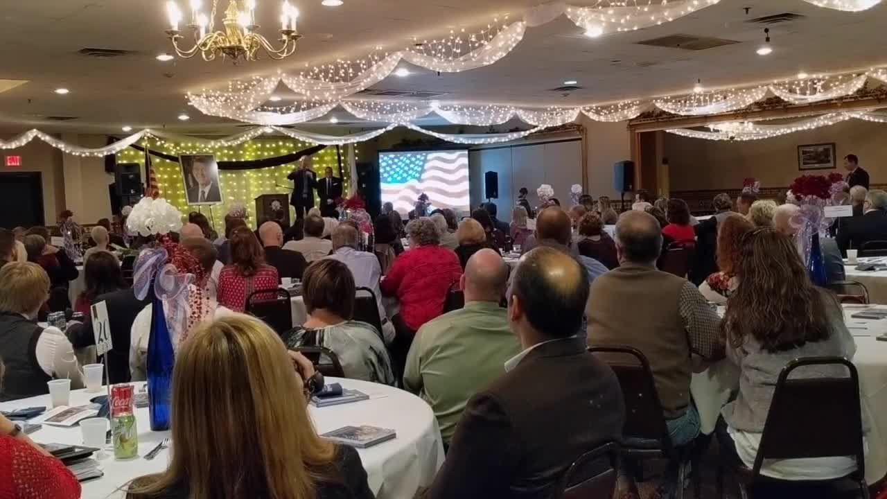 Gov. Bruce Rauner spoke at the annual Ronald Reagan celebration dinner Friday, Feb. 2, 2018, at the Dixon Elks Lodge.