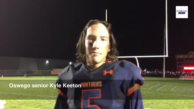 Oswego senior Kyle Keeton (2 INTs) on the defensive shutout in Week 2 over Plainfield North
