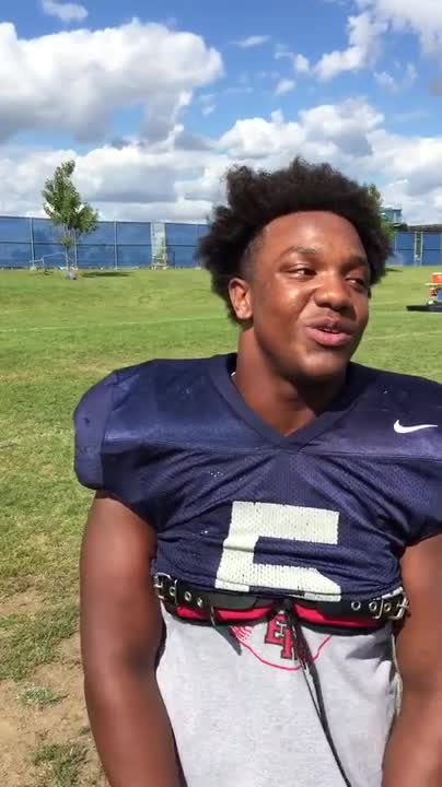 Oswego East senior B.J. Graves discusses the Week 1 game with Joliet West.