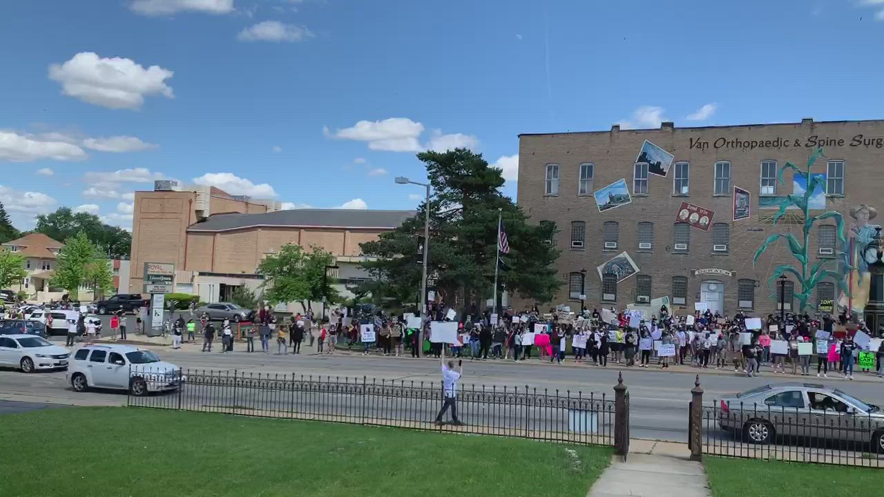 "Hundreds of peaceful protestors at the Black Lives Matter rally in DeKalb now gathered, can be heard chanting, ""No justice, no peace,"" ""Black lives matter,"" and ""I can't breathe."" Video by Mark Busch--mbusch@shawmedia.com"