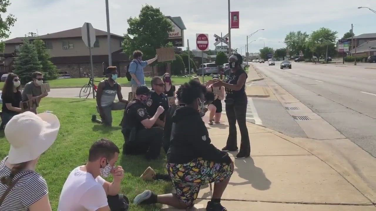 During Wednesday afternoon's Black Lives Matter protest in DeKalb, a protester gave a powerful speech about good cops vs. bad, why looting must stop, and asking for everyone to see the humanity in each other.