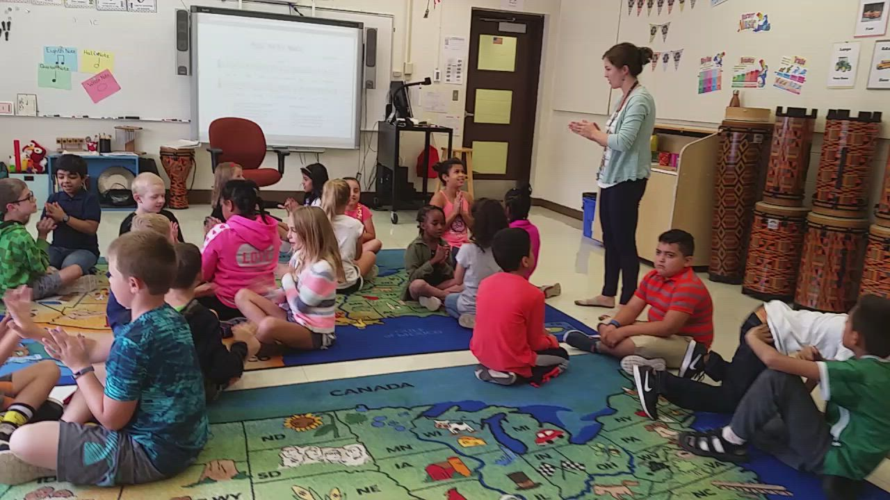 High, the music teacher at Jefferson Elementary School, teaches her students about rhythm.