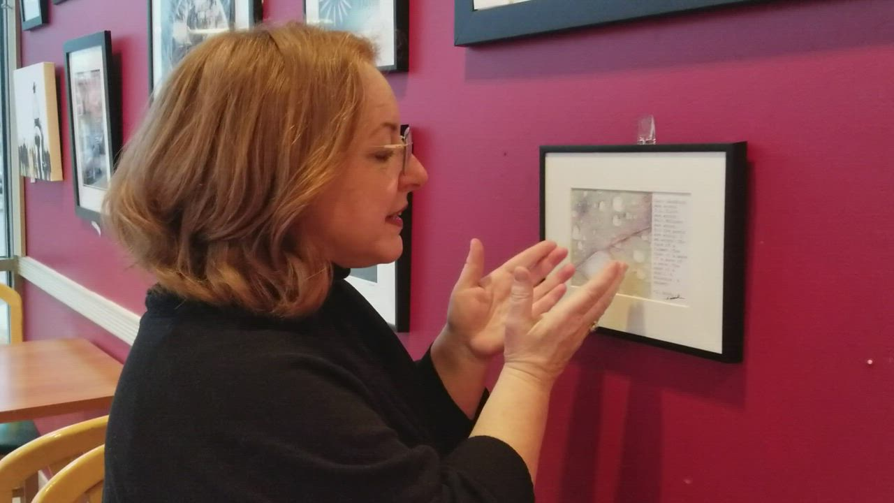 Sharon Houk of Joliet explains the concept between her leaf photograph and the original poem she wrote to accompany it. Houk's artwork will be displayed at the Book and Bean Cafe in Joliet through the end of April.