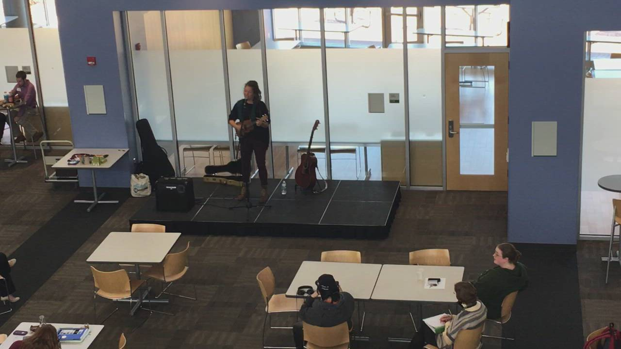 A minute of live music from the Student Center at Kishwaukee College on Wednesday, March 7.