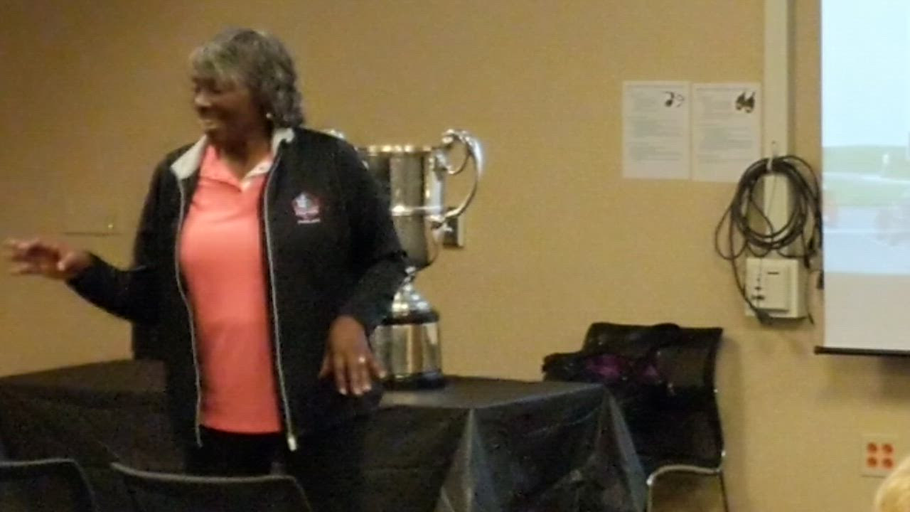 Renee Powell talked about her experience as a golf professional and her family's history in the game during a program July 11 at the Wheaton Public Library. She participated in the inaugural U.S. Senior Women's Open Championship, held at the Chicago Golf Club in Wheaton from July 12 to 15.