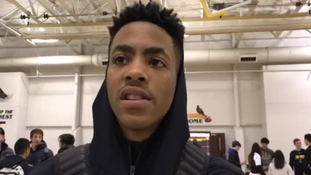 Mack talks about the Golden Eagles' fast start in their 62-45 FVC win over Dundee-Crown.