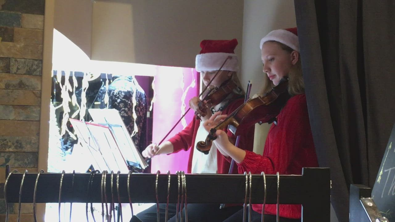 In the first segment, Eva Peterson (left), 12, and Emma Fredericks (right), 13, play Christmas carols on violin within Lizzy's Pink Boutique during the eighth annual Moonlight Magic event on Friday in downtown Sycamore. In the second segment, puppies available for adoption at Tails play in the window of Luxe Salon in downtown Sycamore during the same event.