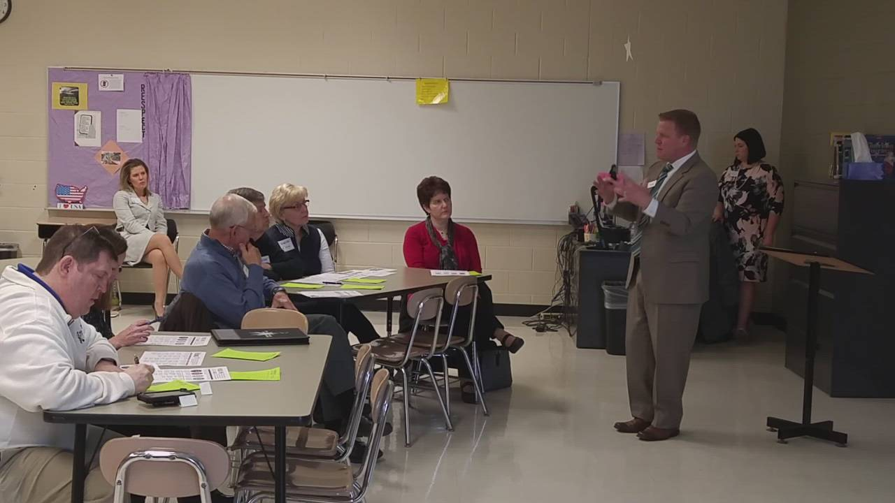 Wheaton-Warrenville Community Unit School District 200 Superintendent Jeff Schuler talks about the district's proposed new strategic plan during a community feedback session March 13 at Hubble Middle School.