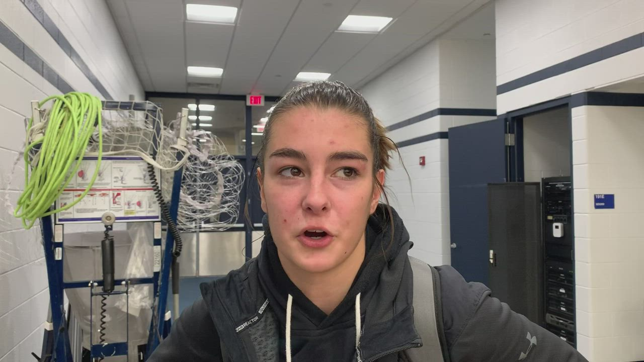 Postgame interview with Geneva guard Kate Palmer following Vikings 66-61 win over Lake Park on Feb. 11.