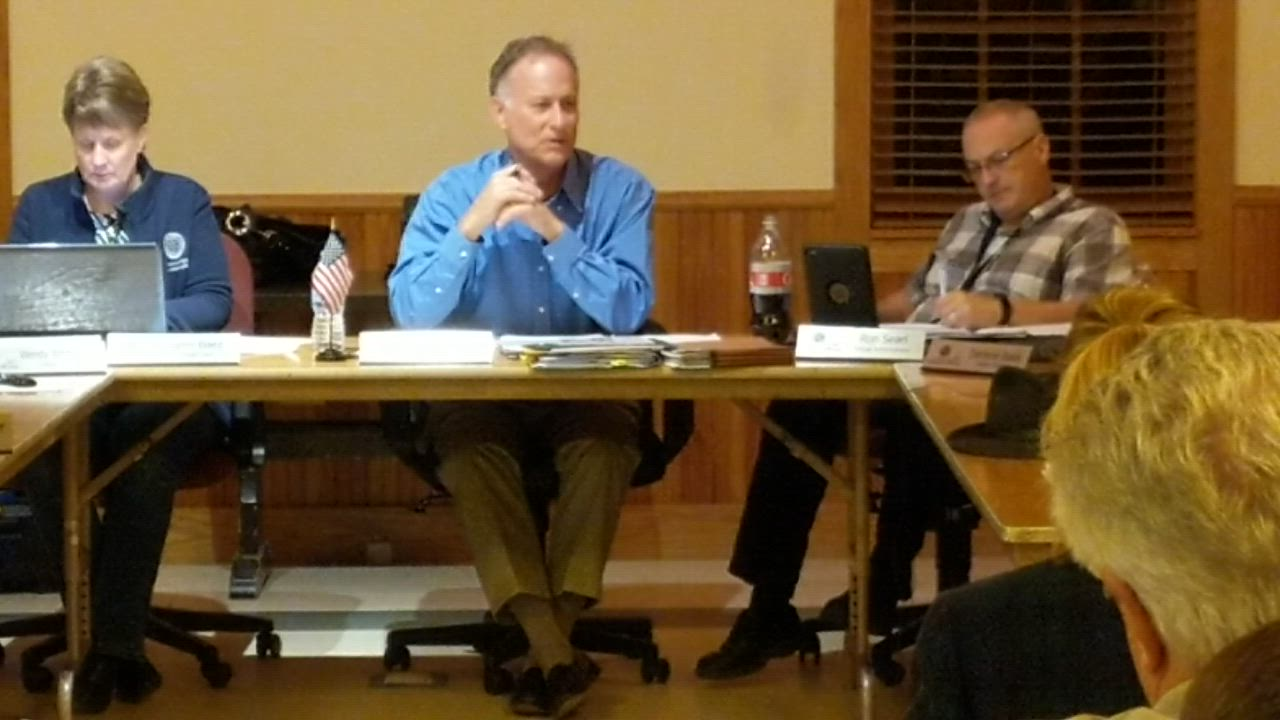 Campton Hills Village President Mike Tyrrell, center, talks about why he opposes the recreational sale of marijuana. At its Oct. 15 meeting, the Campton Hills Village Board voted unanimously to prohibit recreational marijuana businesses in the village.