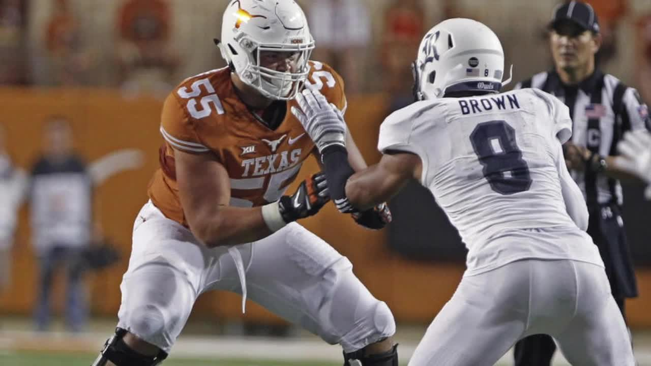 With his agility and quickness, Connor Williams is excellent with combo blocks and also does a very good job adjusting on the move when playing in space. He is used often to pull and shows speed and the ability to adjust to hit a moving target. He could very well be one of the top tackles in the draft class. He easily has the athleticism to play on the left side in the NFL, but with his strength and movement skills, he could also become a very good guard. His measured arm length will have a lot to say about what position he ends up at. Williams discusses adversity playing for 3 different OCs in 3 years at the 2018 NFL Combine.