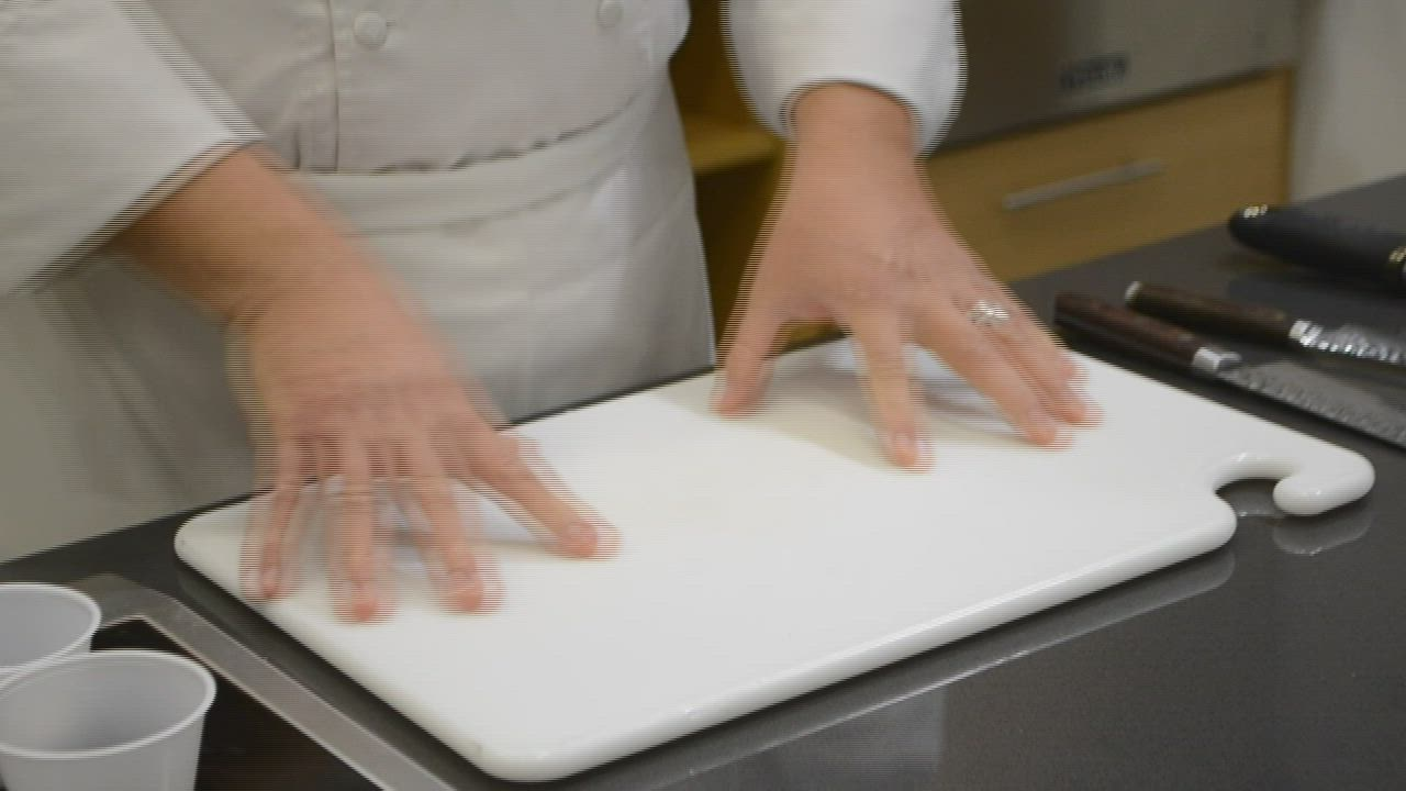 "Joliet Junior College chef instructor Ken Thompson shows how to make uniform small dice cuts in episode three of ""Whisking It Up."""